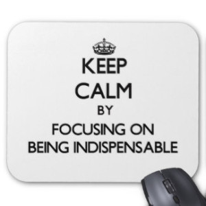 keep  calm and be indispensible